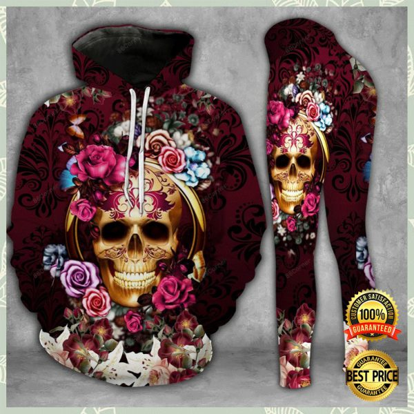 Floral Skull 3d Hoodie And Legging 3