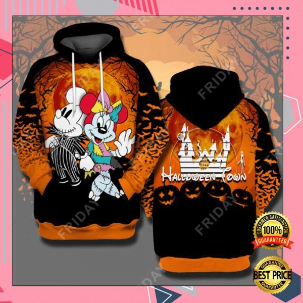 Halloween Town Mickey Mouse And Minnie Mouse 3D All Over Printed Hoodie 3
