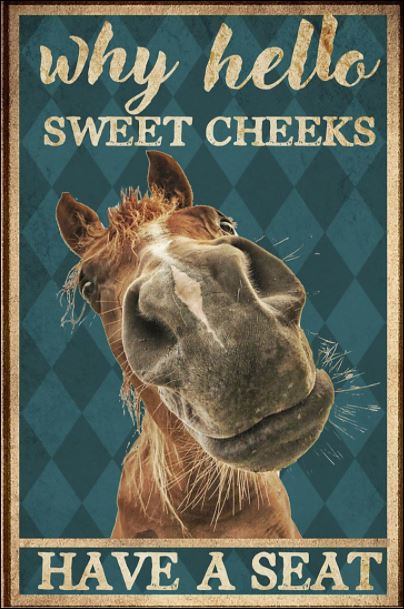 Horse why hello sweet cheeks have a seat poster 2