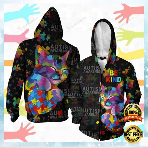 Autism Awareness Cat Be Kind All Over Printed 3d Hoodie 3