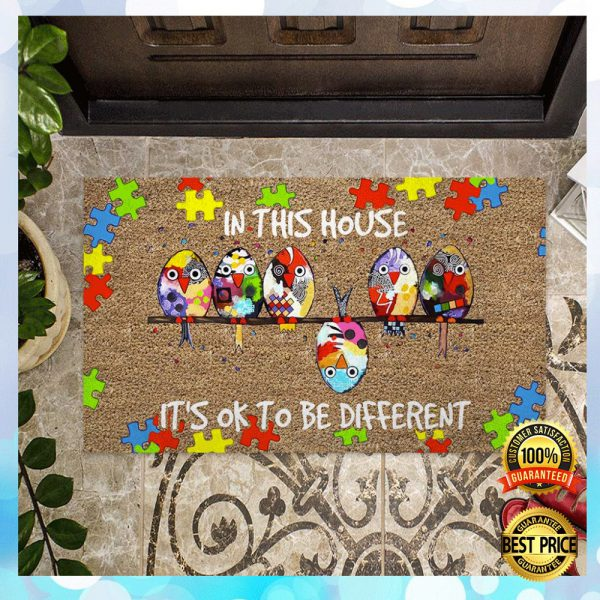 Autism Awareness In This House It's Ok To Be Different Doormat 3