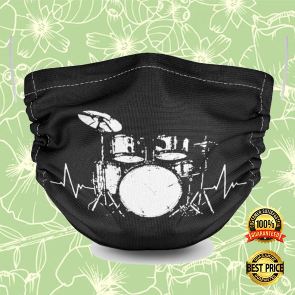 Drum Set Black And White Face Mask 3