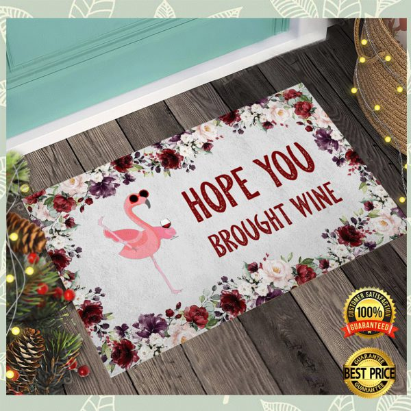Flamingo Hope You Brought Wine Doormat 3