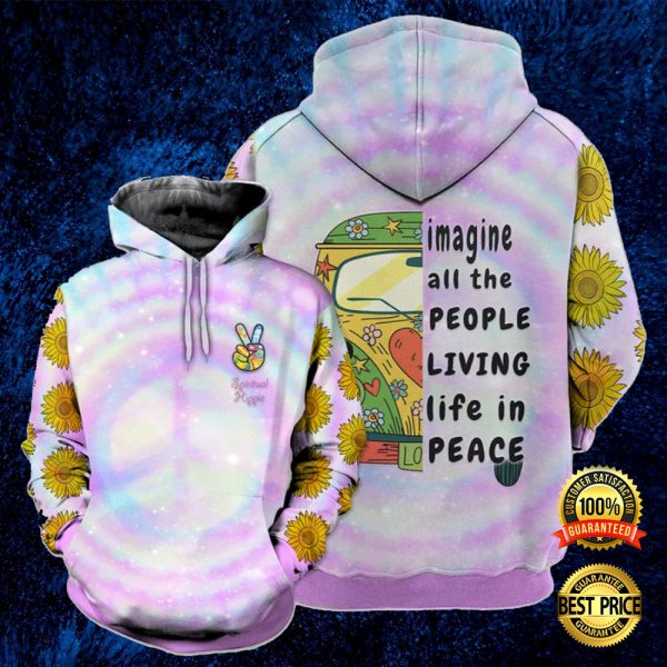 Hippie Sunflower Imagine All The People Living In Peace All Over Printed 3d Hoodie 3