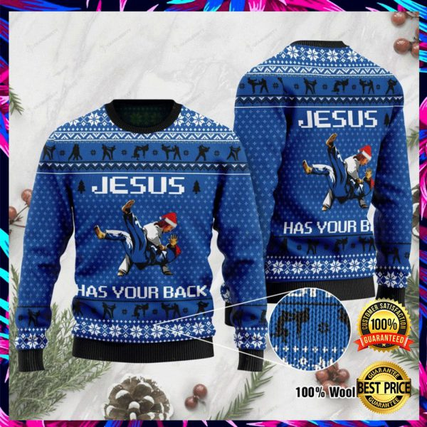 Jesus Has Your Back Judo Ugly Sweater 3