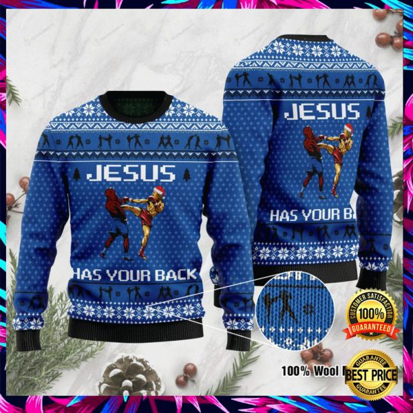 Jesus Has Your Back Muay Thai Ugly Sweater 3