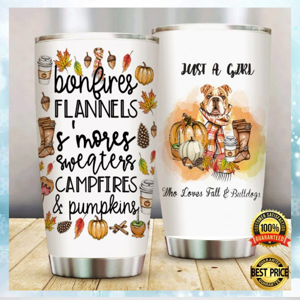 Just A Girl Who Loves Fall And Bulldogs Tumbler 3