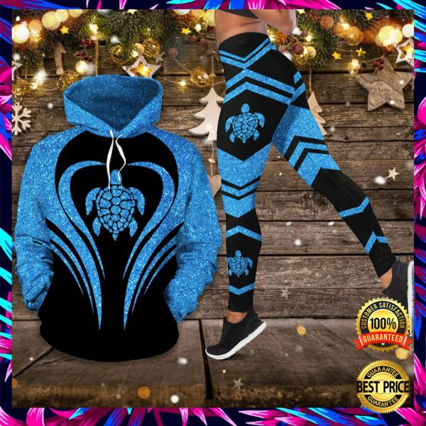 Sea Turtle Glitter 3d Hoodie And Legging 3