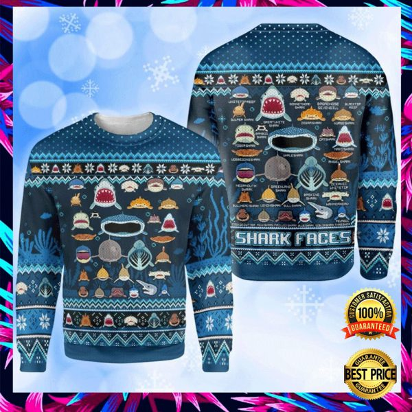 Shark Faces Ugly Sweater 3