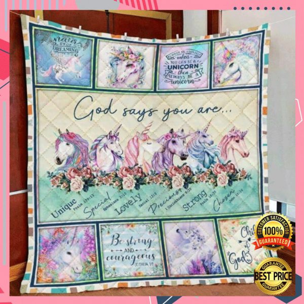 Unicorn God Says You Are Unique Special Lovely Precious Strong Chosen Quilt 3