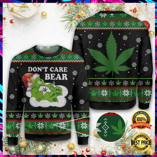 Weed Don't Care Bear Ugly Sweater 3