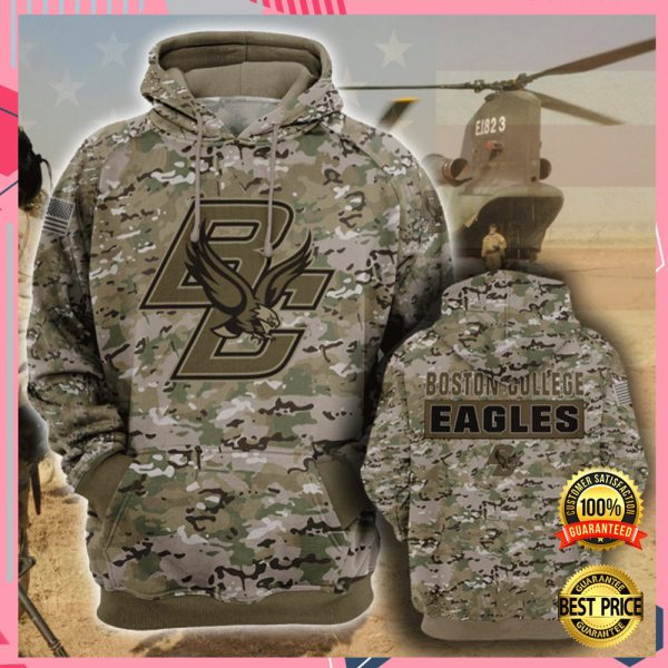 Army Camo Boston College Eagles All Over Printed 3d Hoodie 3