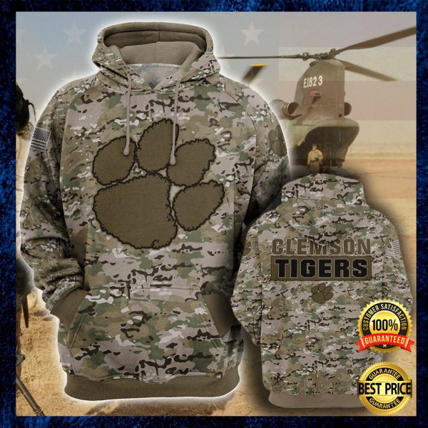 Army Camo Clemson Tigers All Over Printed 3d Hoodie 3