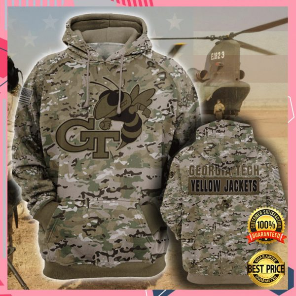 Army Camo Georgia Tech Yellow All Over Printed 3d Hoodie 3