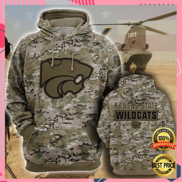 Army Camo Kansas State Wildcats All Over Printed 3d Hoodie 3