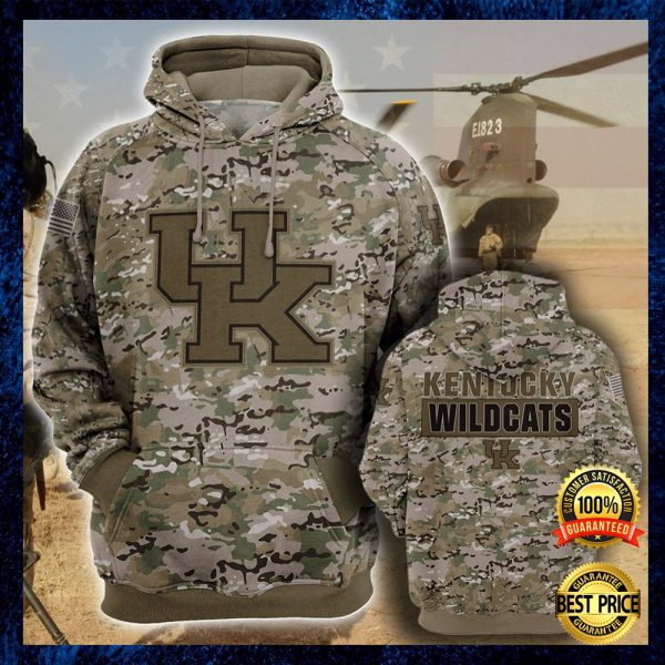 Army Camo Kentucky Wildcats All Over Printed 3d Hoodie 3