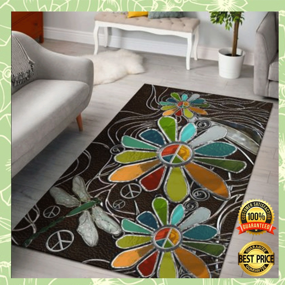 Dragonfly And Sunflower Hippie Soul Rug 4