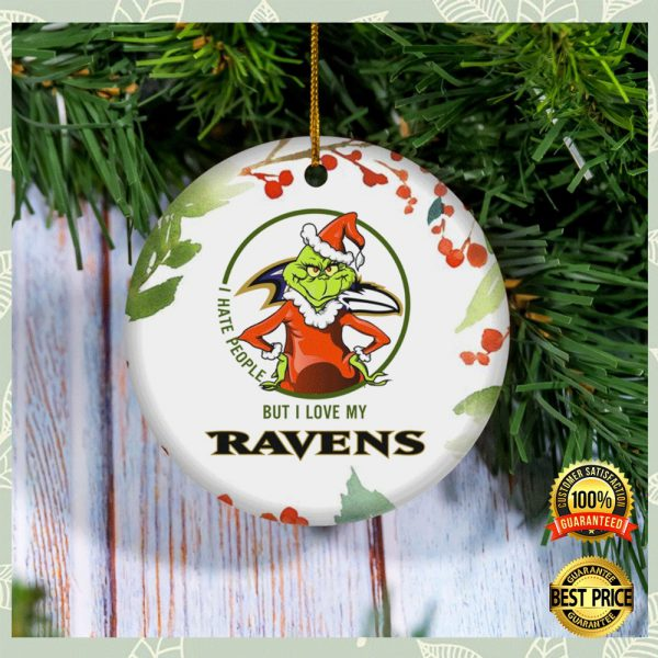 Grinch I Hate People But I Love Baltimore Ravens Christmas Ornament 3