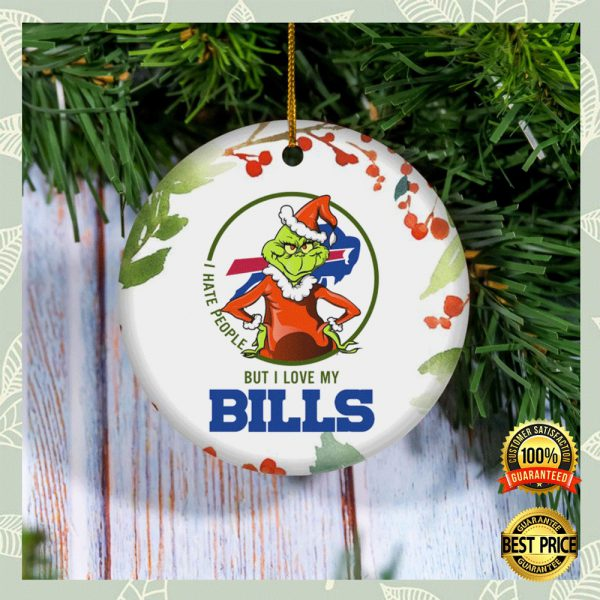 Grinch I Hate People But I Love Buffalo Bills Christmas Ornament 3
