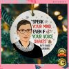 Rbg Speak Your Mind Even If Your Voice Shakes Christmas Ornament 2