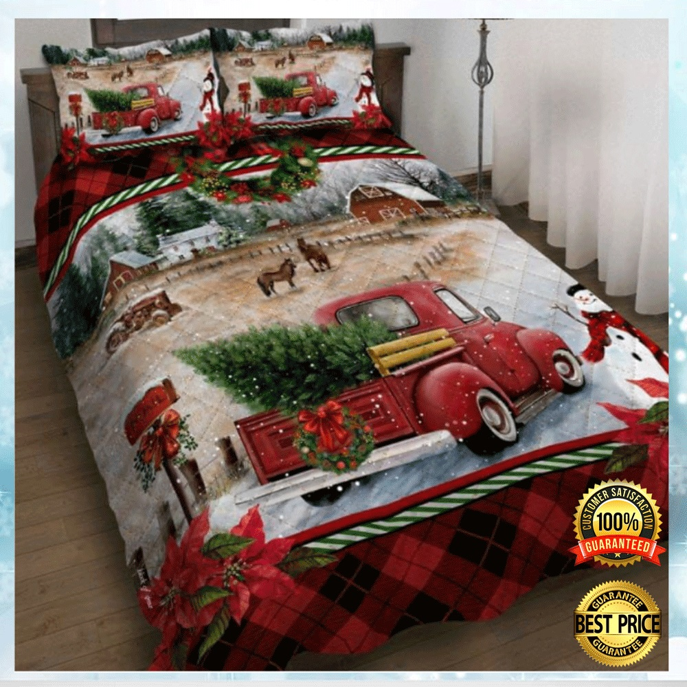 Red Truck Christmas Bedding Set 4