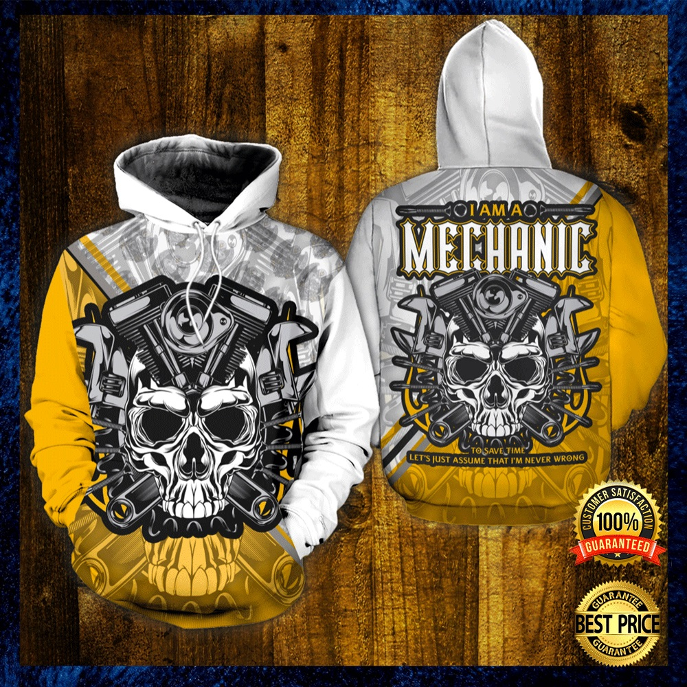 Skull I Am A Mechanic All Over Printed 3d Hoodie 4