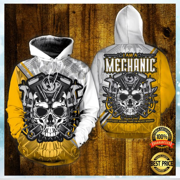 Skull I Am A Mechanic All Over Printed 3d Hoodie 3