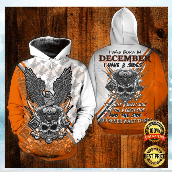 SKULL THE MECHANIC I WAS BORN IN DECEMBER I HAVE 3 SIDES ALL OVER PRINTED 3D HOODIE 3