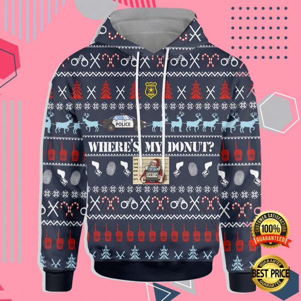 WHERE'S MY DONUT ALL OVER PRINTED 3D UGLY CHRISTMAS HOODIE 3