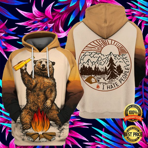 Camping Bear I Hate People All Over Printed 3d Hoodie 3