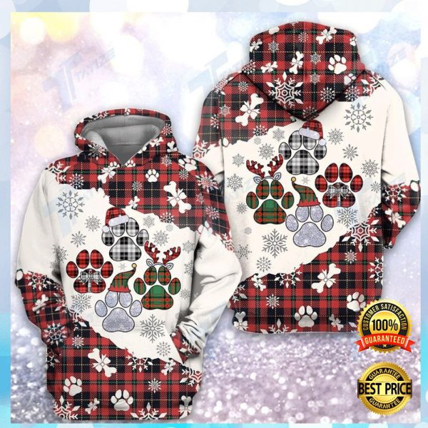 Christmas Tartan Dog Paw All Over Printed 3d Hoodie 3