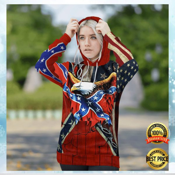 Eagle Confederate Battle Flag All Over Printed 3d Hoodie 3