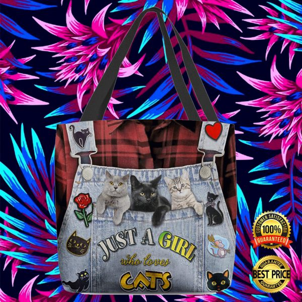 Just A Girl Who Love Cats All Over Tote Bag 3