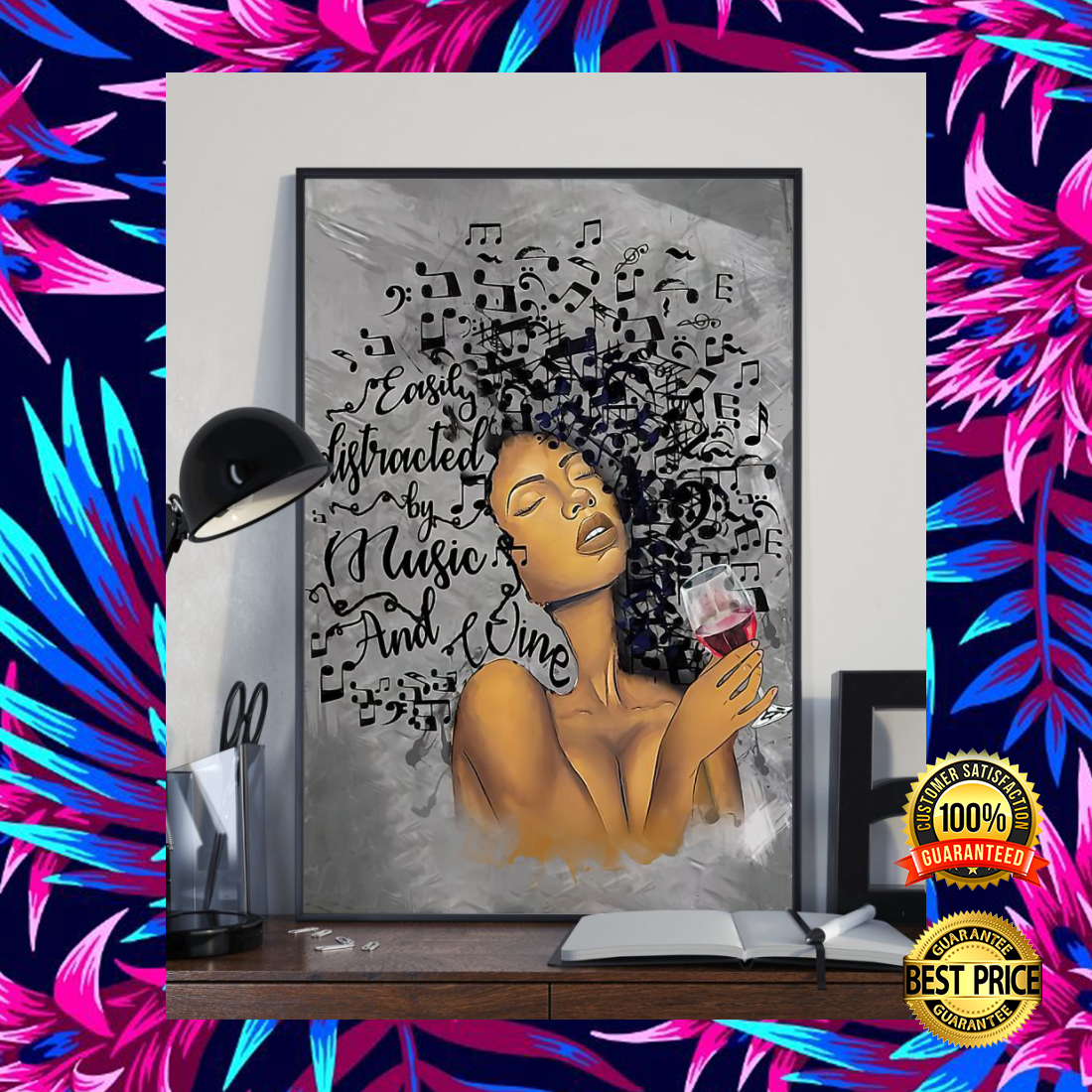 Black woman easily distracted by music and wine poster 4