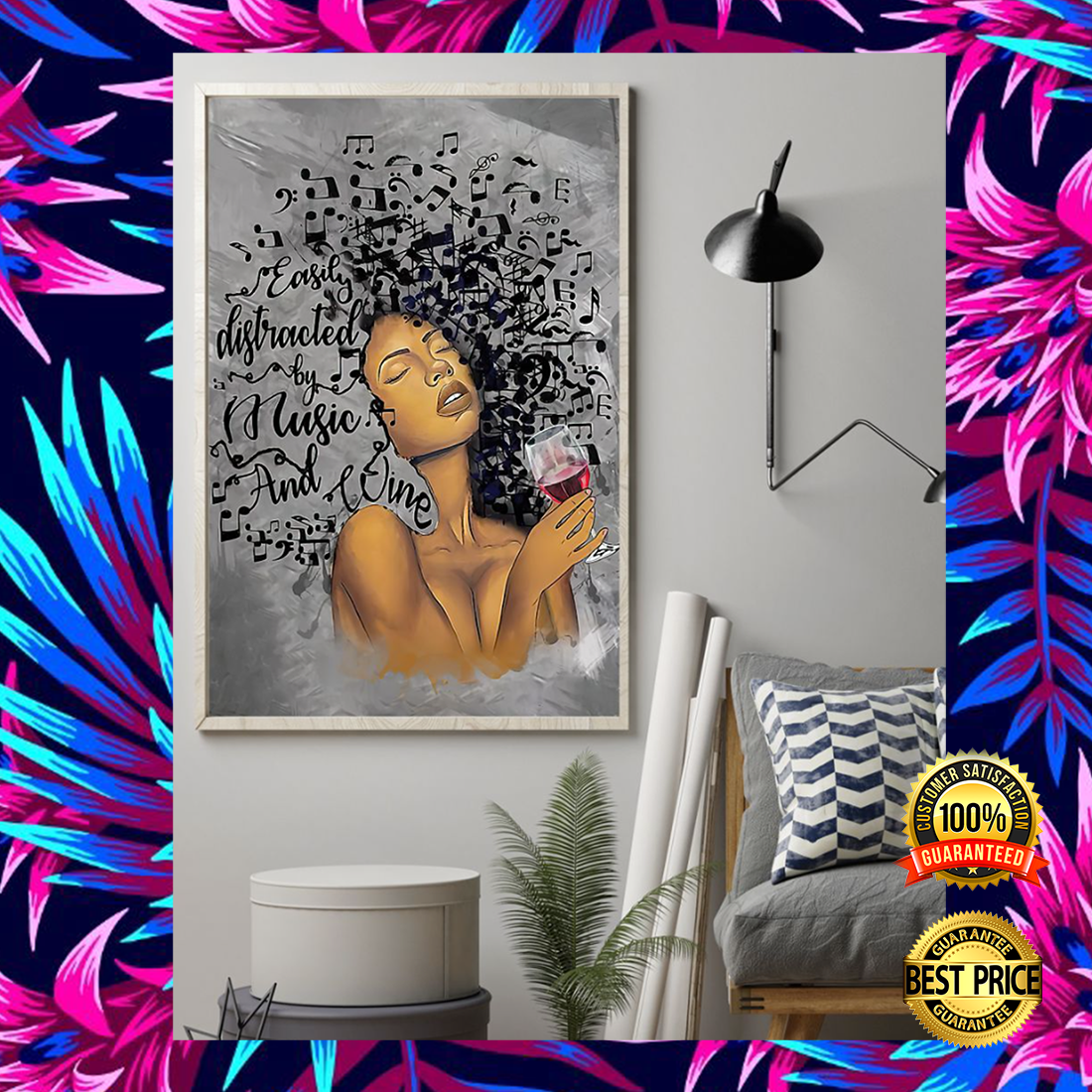 Black woman easily distracted by music and wine poster 5