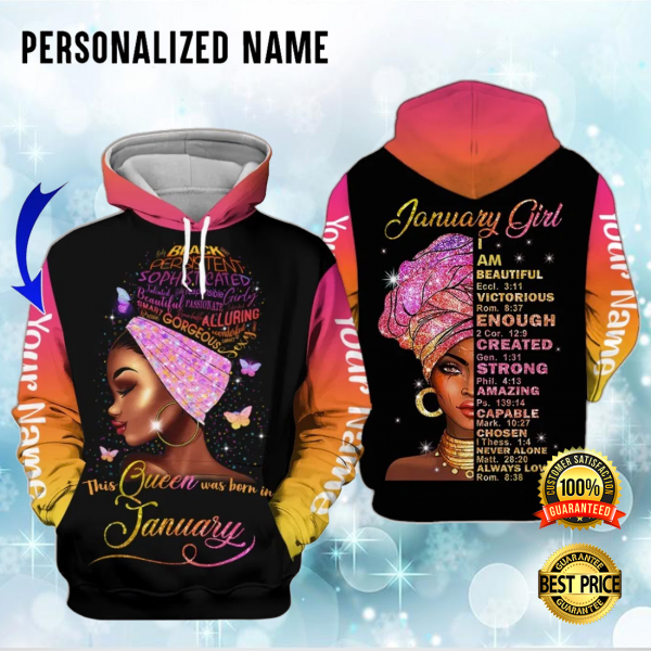 Personalized January Girl I Am Beautiful Victorious Enough Created All Over Printed 3d Hoodie 3