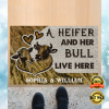 PERSONALIZED A HEIFER AND HER BULL LIVE HERE DOORMAT 1