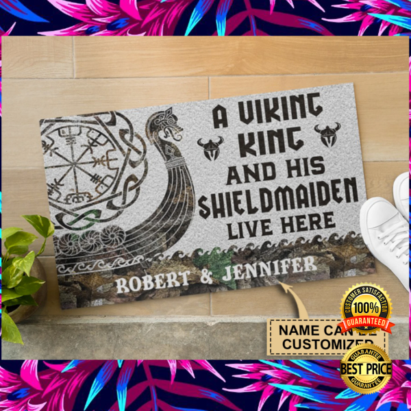 Personalized a viking and his shieldmaiden live here doormat 3
