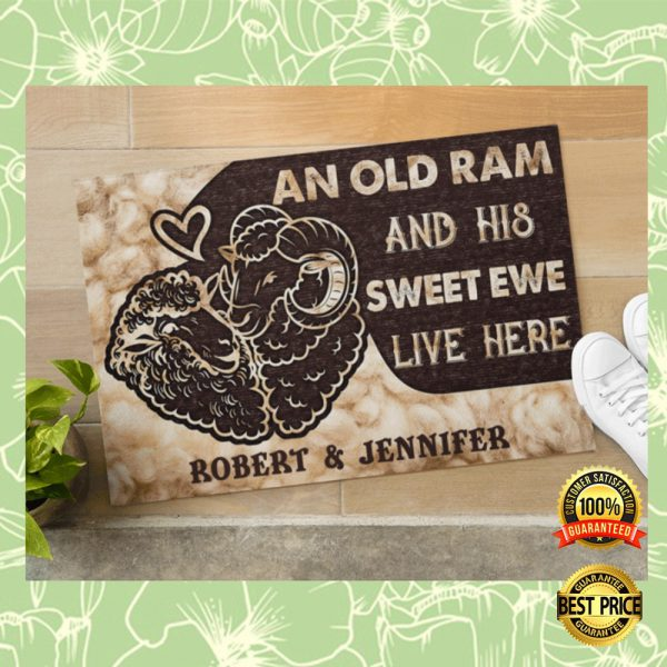 PERSONALIZED AN OLD RAM AND HIS SWEET EWE LIVE HERE DOORMAT 3