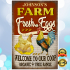 Personalized farm fresh eggs welcome to our coop organic free range poster 2