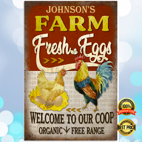 Personalized farm fresh eggs welcome to our coop organic free range poster 3