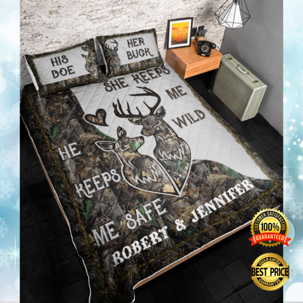 PERSONALIZED HE KEEPS ME SAFE SHE KEEPS ME WILD BEDDING SET 3