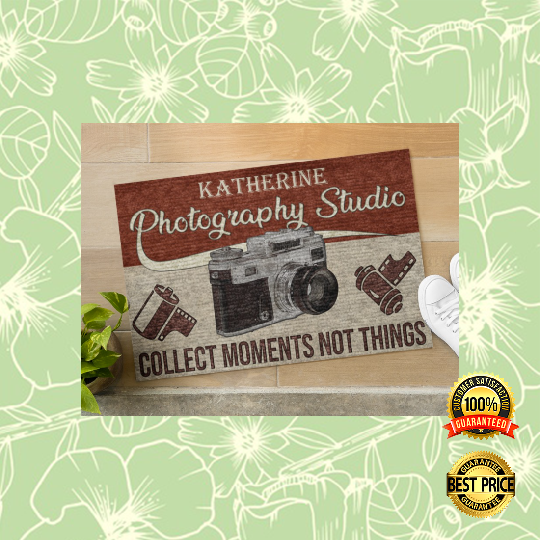 Personalized photography studio collect moments not things doormat 4