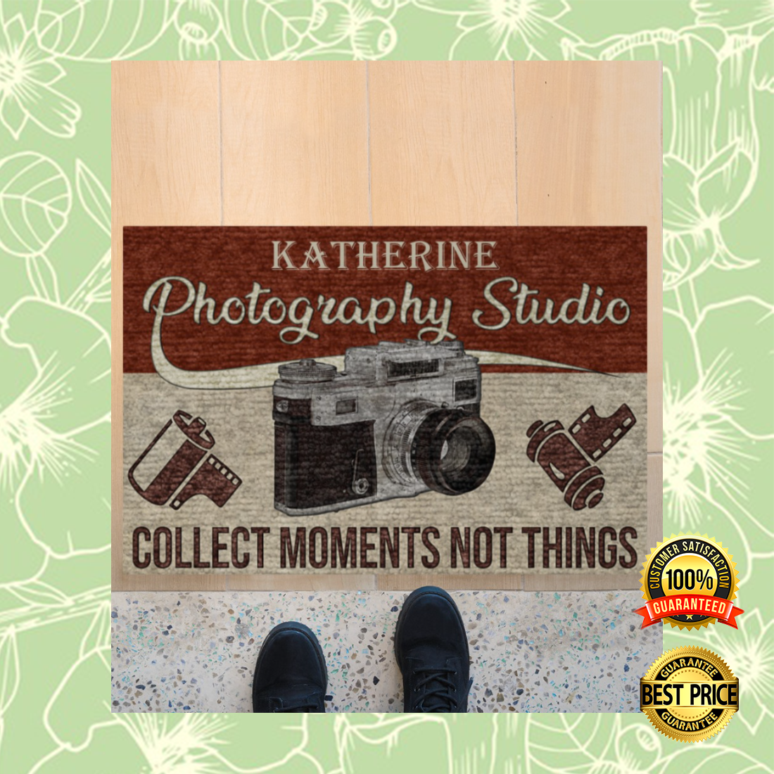 Personalized photography studio collect moments not things doormat 5