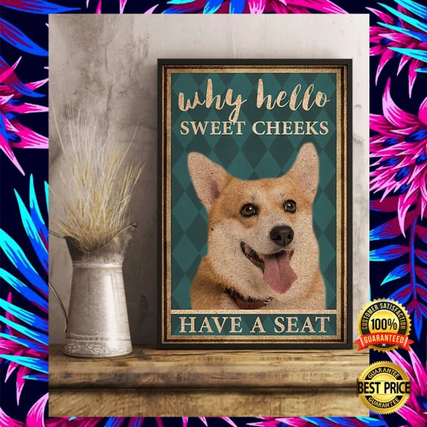 CORGI WHY HELLO SWEET CHEEKS HAVE A SEAT POSTER 3