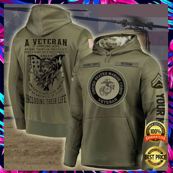 Personalized US Marine Corps A Veteran Is Someone Who At One Point In Their Life all over printed 3D hoodie 3