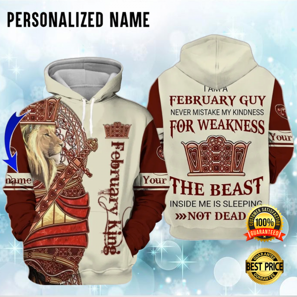 PERSONALIZED LION FEBRUARY KING ALL OVER PRINTED 3D HOODIE 3