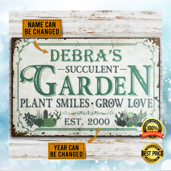 PERSONALIZED SUCCULENT GARDEN PLANT SMILES GROW LOVE POSTER 3