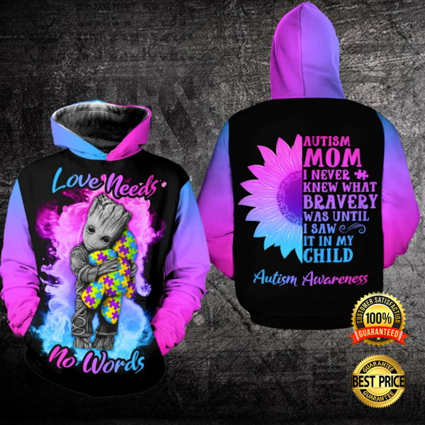 AUTISM LOVE NEEDS NO WORDS ALL OVER PRINTED 3D HOODIE 3