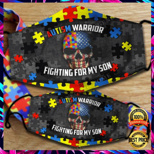 AUTISM WARRIOR FIGHTING FOR MY SON FACE MASK 3